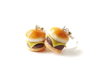 Plain Cheeseburger Earrings, Miniature Food Jewelry, Polymer Clay Dangle Food Earrings, Cheeseburger Jewelry, Cheeseburger Dangle Earrings