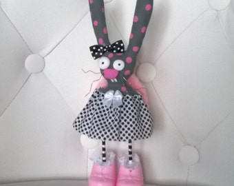 FREE US SHIPPING Bunny Rabbit Art Doll Gray and Pink Ooak Polymer Clay Collectable Cute Gift Easter