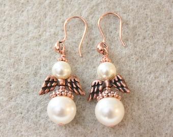 Angel Earrings/ Guardian Angel, Swarovski pearl earrings, wedding, Easter, wedding gift, bride gift, easter gift, Zoeyjewelry