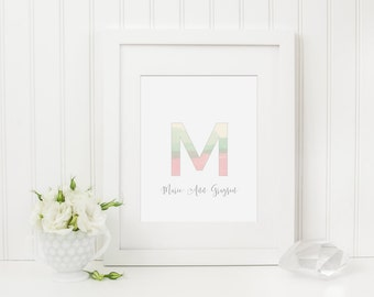 Custom Nursery Art Print, Personalized Nursery Wall Art, Name Art Print, Initial Art, Kids Art, Pink Nursery, Mint Nursery, Girls Nursery