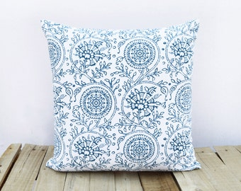 Kalamkari print, indigo pillow cover, blue cotton cushion cover, size available.