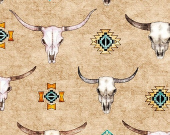 Southwest Fabric - Longhorns - Cattle Skull -Southwest Soul - Dan Morris Quilting Treasures - 26638 Oatmeal Tan - Priced by the half yard