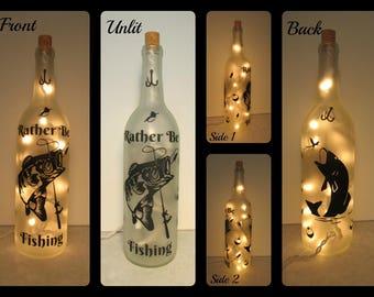 Fishing/Rather be Fishing Wine Bottle Night Light/Fishing Gift/Fisherman