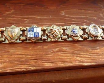 COAT OF ARMS- Vintage Brass Bracelet