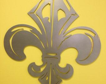 Industrial French Fleur de Lis metal wall art