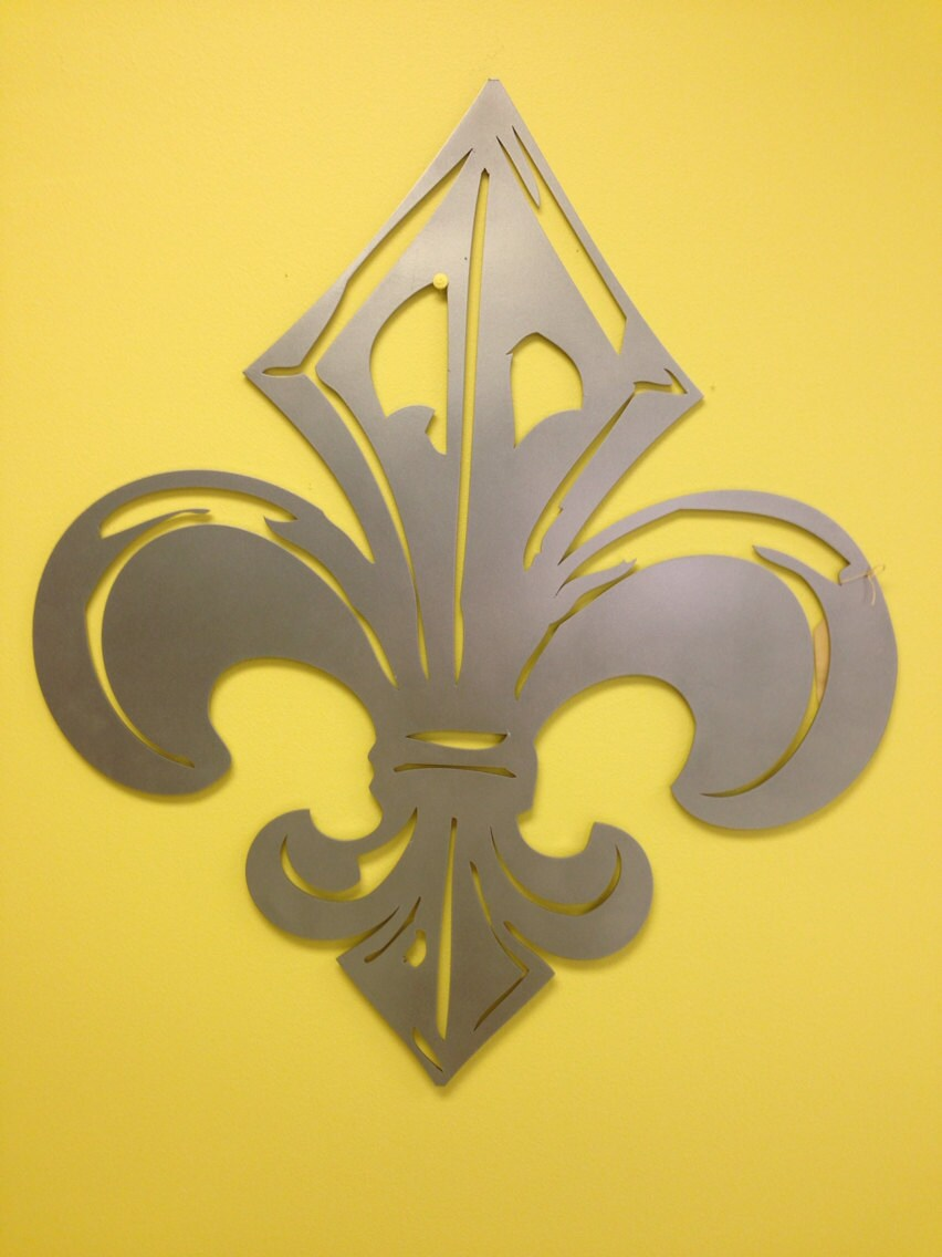 Industrial French Fleur de Lis metal wall art