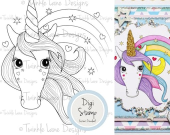 Unicorn, Digi Stamp, Rainbow, Love Hearts, Stars, Digital Stamp, A5 Page, Unicorn Clipart, Fantasy, Magical, Colouring Page, Unicorn Stamp
