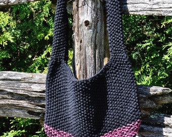 Knitted Boho/Market Bag in pink and black