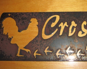 Rooster crossing-metal art
