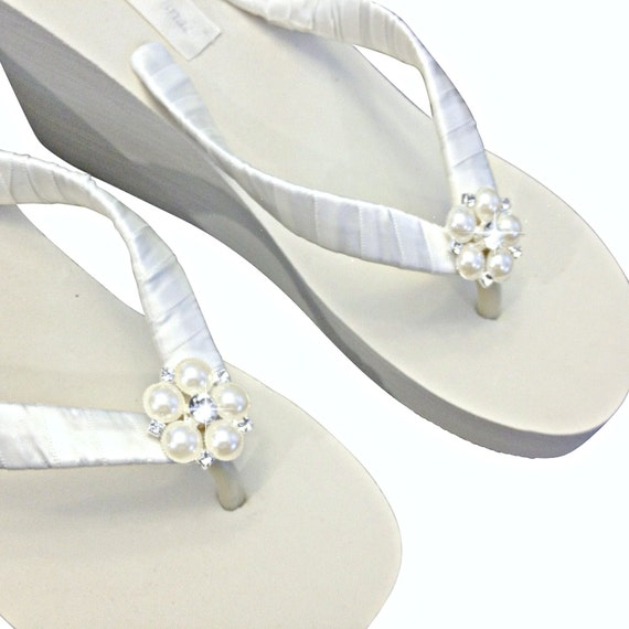 Wedge Flops Jangles Flops Wedge Flops Flip Wedding Flip Flip Flip Wedding Platform Ivory Bridal Wedge Flops Beach xwZaSIfnq