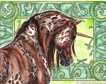 The Forest Keeper, brown appaloosa unicorn, art nouveau, fantasy art, original watercolor painting, gypsy, boho, Arabian horse