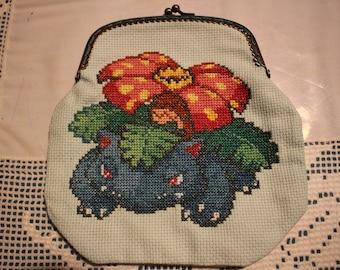 Venusaur Cross stitch purse