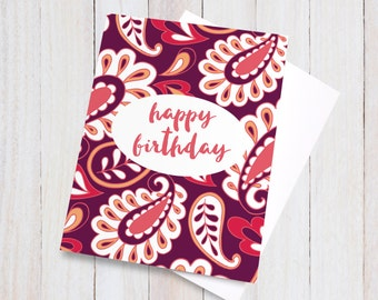 Paisley Happy Birthday Card, Birthday Card for Her, Colourful Greeting Card, Pretty Blank Greeting Card, Bright Paisley Card, Red