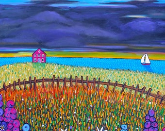 country flower cottage, seascape,coastal, Shelagh Duffett Print