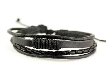Mens Leather Bracelet, Mens Black Bracelet, Layer Bracelet, Rope Bracelet, Leather Bracelet,  Mens Bracelet, Men Bracelet, Boyfriend Gift,
