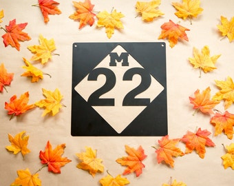 M-22 Michigan Road Sign Steel Replica