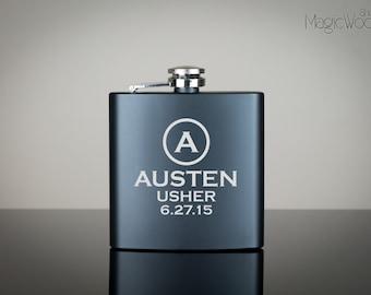 Personalized Flask, Groomsmen Gift, Groomsman Flask, Best Man Fask, Engraved Stainless Steel Flask, Mustache Flask, Flask