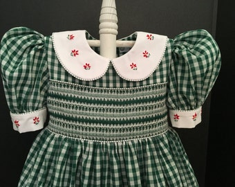 Girls Counterchange Smocked Dress Size 4  Ready To Ship (Available Special Order in Sizes  1-6 ).