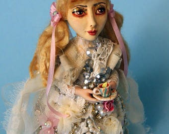 OOAK art doll fairy one of a kind Alice in Wonderland art doll Mad Hatter Tea Party Shabby Chic vintage style