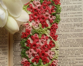 Tatted Lace Bookmark - Variegated Red and Green - Prague