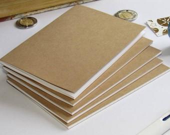 Midori Inserts--Set of 5 Kraft Paper Traveler's Notebook Inserts A7 Passport FN Personal Wallet Regular A6 B6 Cahier A5