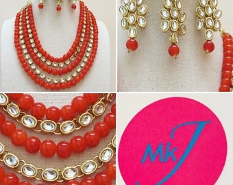 Necklace,Earrings and Tikka Set (Orange Beads)