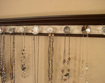Jewelry organizer  CHOOSE  5, 7 or 9 KNOBS. Necklace holder rack with clear and silver knobs  wall hung jewelry storage closet or decor gift