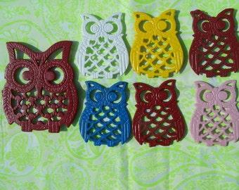 Pop art cast iron owls