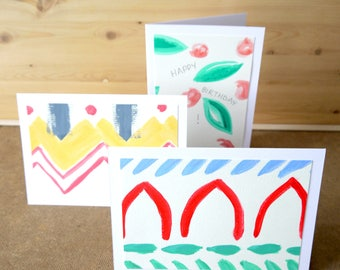 Set of 3 Hand Painted Cards (with envelopes)