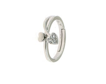 Contrariè ring with smooth heart and zirconate in silver 925 plated white gold.
