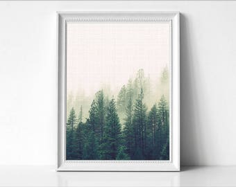 Foggy Forest Print, Forest Wall Art, Large Poster, Modern Minimal, Forest Landscape, Mountain Decor, Green Forest, Winter Landscape