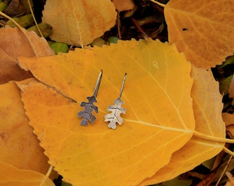 Sterling Silver Oak Leaf Dangily Earrings