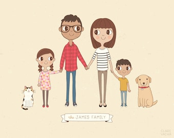 Custom Family Portrait Illustration, Personalised Digital Print 8x10 or A4, Gift Idea