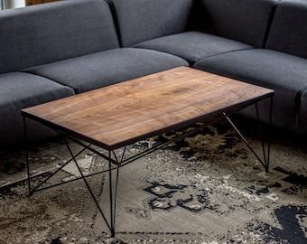 Walnut Coffee Table, rectangle coffee table, modern coffee table, living room table, hairpin leg coffee table, Walnut