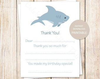 PRINTABLE shark thank you cards . kids birthday fill in the blank thank you. sea creatures, under the sea, fish . Instant Download YOU PRINT