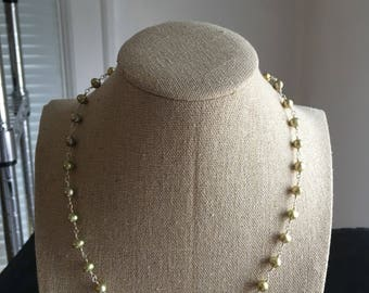 Chartreuse Freshwater Pearl and Sterling Silver Necklace with Magnetic Clasp - Free U.S. Shipping