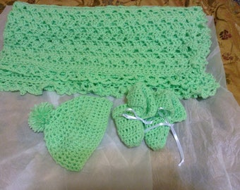 Handmade Baby Blanket, Booties, Hat