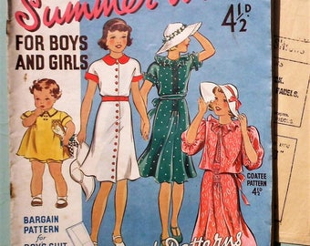 Vintage Sewing Catalog / Magazine plus sewing PATTERN 1930s Leach-Way Summer Wear for Boys and Girls No. 48 30s children's clothing dresses
