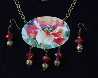 Vintage tin necklace-Red flower necklace and gold and red earrings- floral jewelry-gift for her