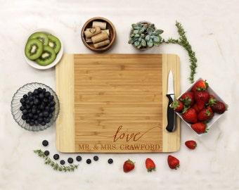 Personalized Cutting Board, Custom Cutting Board, Engraved Cutting Board, Love Wedding Anniversary Housewarming Bamboo Wood --22028-CUTB-001