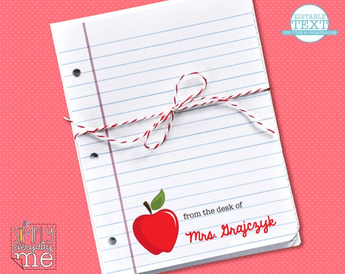 Personalized Apple Teacher Notes Cards - Editable - for Teacher Gifts or Back to School - Instant download DIY Printable PDF