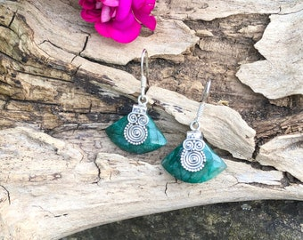 Natural Emerald & 925 Sterling Silver Earrings