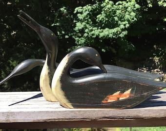 Set of Three Shadow Merganser Duck Decoys by Vermont Artist K.William Kautz