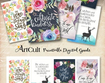 """Printable download BIBLE VERSES TAGS No.14 Scripture Art, eight 2.5""""x3.5"""" size hang tags digital collage sheet, greeting cards by ArtCult"""