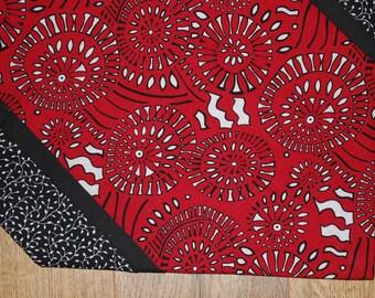 Table Runner, Table topper - Red, Black, White, Modern