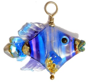 Blue & purple striped glass fish pendant necklace, lampwork glass bead, handmade sculptural fish, ocean focal bead, art glass jewelry