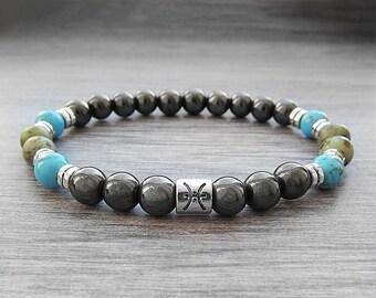 Pisces bracelet Hematite bracelet Pisces gifts Zodiac jewelry Men zodiac bracelet Pisces Zodiac bracelet March birthstone Men bracelet