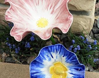 Large  Ceramic garden stake fantasy flowers