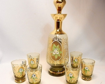Vintage Moser Style Hand Painted Glass Decanter with Glasses