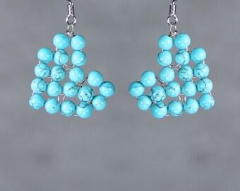 Boucles d'oreilles coeur turquoise cadeaux demoiselles d'honneur nous livraison gratuite la main Anni Designs